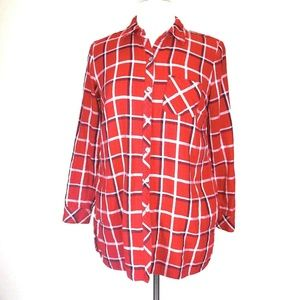 J. Jill Plaid Shirt S Petite Flannel Tunic Top